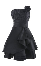 Strapless Pleat Layered Dress With Flower