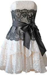 Strapless A-line Lace Mini Dress With Bow Tie
