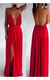 Sexy Red Spaghetti Straps Prom Dress 2018 Long Deep V-Neck