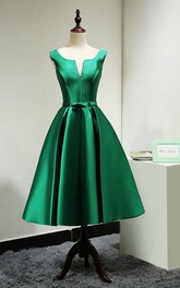 V Neck Pleated A-line Satin Tea Length Dress With Lace Up and Bow