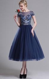 A-Line Tea-Length Bateau Short Sleeve Tulle Beading Appliques Illusion Dress