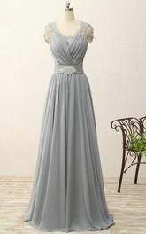 A-line Sweep Train Chiffon Dress with Lace and Pleats