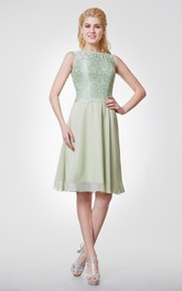 Bateau Neck A-line Chiffon Knee Length Dress With Lace Bodice