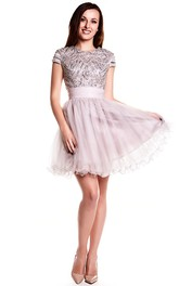A-Line Mini Scoop Neck Sequined Cap Sleeve Tulle Prom Dress With Keyhole