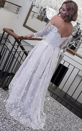 Retro Lace High Low Off The Shoulder Long Sleeves Summer Beach Bohemian Bridal Gown
