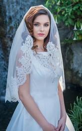 Single Layer Soft Short Bridal Veil With Lace Trim