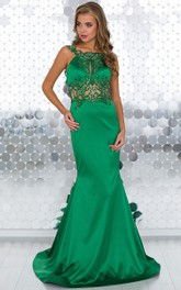 Mermaid Sweep Jewel Sleeveless Satin Appliques Beading Backless Dress