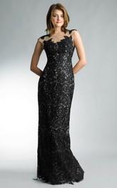 Sheath Floor-length High Neck Short Sleeve Lace Zipper Dress