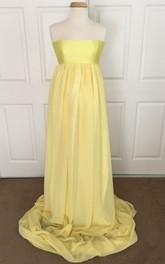 Satin Chiffon A-line Sleeveless Strapless Maternity Dress