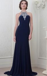 A-Line Maxi Beaded Sleeveless High-Neck Jersey Evening Dress With Pleats