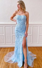 Simple Lace Sheath Strapless Sweetheart Sleeveless Formal Dress With Appliques