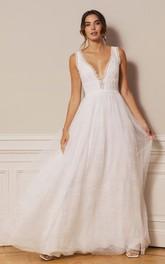 Adorable A Line Plunging Neckline Lace Tulle Floor-length Deep-V Back Wedding Dress