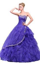 Strapless Ball Gown With Ruffles and Appliques