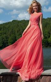 Appliqued Scoop-Neck Floor-Length Prom Dress