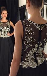 Newest Black Beadings A-line Evening Dress 2018 Illusion Zipper Sleeveless