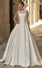 A-Line Sleeveless Floor-Length Appliqued Jewel-Neck Satin Wedding Dress