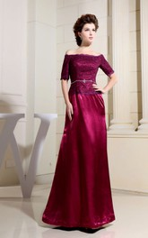 Refined Short-Sleeve Satin Maxi Dress With Beaded Bodice