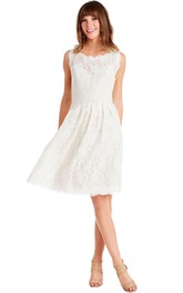 A-Line Sleeveless Bateau Mini Lace Little White Dress With Keyhole Back