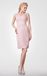 Vintage Inspired V-neck Cap-sleeved Sheath Knee Length Dress