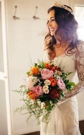 Romantic Bohemian Long Sleeves Sexy Deep V Neck Backless Lace Wedding Dress