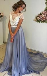 A-Line Chiffon Lace Jewel Short Sleeve Low-V Back Dress