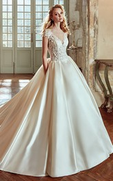 V-Neck A-line Wedding Dress With Lace Bodice and Satin Skirt