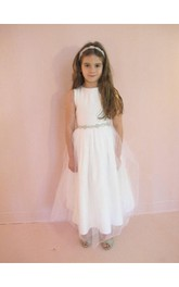 Bateau Sleeveless A-line Tulle Long Dress With Beading Waist