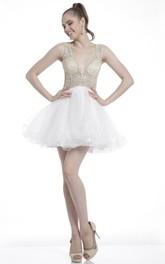 A-Line Mini V-Neck Sleeveless Dress With Ruffles And Beading