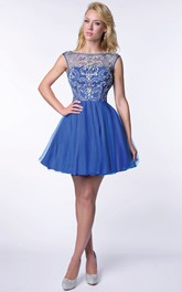 Tulle A-Line Beaded Bodice Homecoming Dress With Deep V-Back