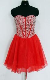 Short Sweetheart Chiffon&Satin Dress With Sequins