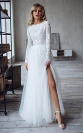 Lace Tulle Floor-length Sweep Train Two Piece Long Sleeve Simple Wedding Dress