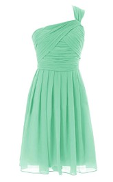 One-shoulder Ruched A-line Short Dress With Zipper Back