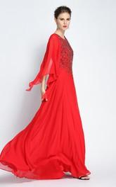 A-Line Floor-length Jewel Chiffon Long Sleeve Prom Dress with Beading and Pleats