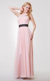 Sleeveless A-line Long Chiffon Dress With Ruching