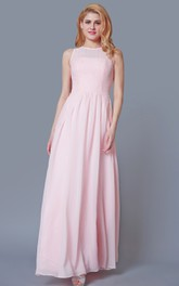 Sleeveless Scoop Neck A-line Chiffon Dress With Lace Detailing