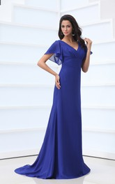 V-Neck Chiffon Floor-Length Dress With Bell-Sleeve