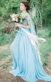 Serenity Bohemian Sky Blue Chiffon Wedding Or Prom Non Traditional Coloured Bridal Gown Dress