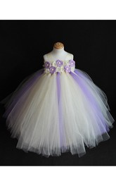 Floral Bodice Empire Tulle Ball Gown With Straps