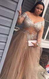 A-Line Ball Gown Tulle Off-the-shoulder Long Sleeve Zipper Dress