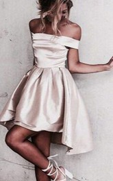 A-line Sleeveless Satin Off-the-shoulder Zipper Short Mini High-low Homecoming Dress