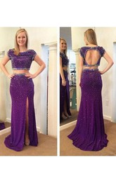 Short Sleeves Sheath Scoop Beading Split-Front Floor-Length Prom Dress