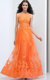 Sheer Neck Beaded Open Back Lace Prom Dress