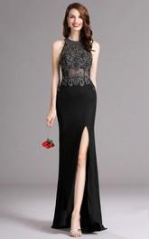Sheath Floor-Length Sweep High-Neck Sleeveless Jersey Split Front Illusion Dress