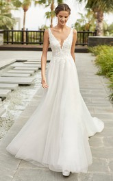 Sexy Lace Tulle Sleeveless Plunging Neckline With Cathedral Train A-line Wedding Dress