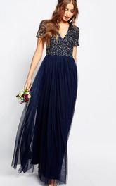 A-Line V-Neck Beaded Short-Sleeve Floor-Length Chiffon Bridesmaid Dress With Pleats