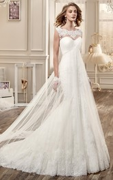 Cap-Sleeve Long Wedding Dress With Pleated Bodice And Invert-V Waist