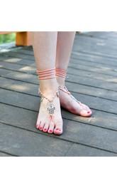Bohemian Handmade Foot Jewelry Leaves Tassel Pendant Winding Anklets