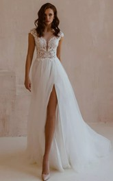 Sexy V-neck Lace Tulle A Line Short Sleeve Floor-length Sweep Train Wedding Dress with Split Front