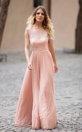 Open Back Illusion Boat Neck Sleeveless Long Dress With Lace Bodice
