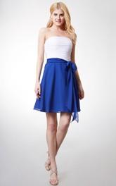 Sleeveless Ruched Bodice A-line Chiffon Dress With Sash